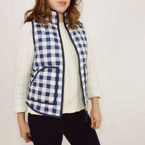 J. Crew Navy Plaid Gingham Excursion Vest Quilted